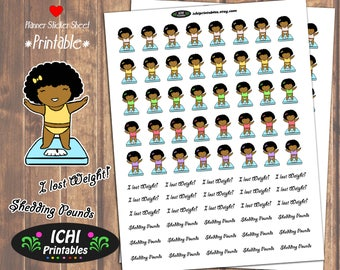Weight Loss Printable Planner Stickers, Weight Loss Planner Stickers, Weight Tracker, Kawaii Black Girl, Diet Planner Stickers, Functional