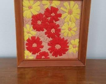 Vintage Flower Crewel, Embroidery, Framed