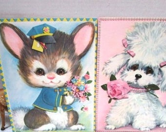 Pair of Adorable Vintage Giant Greeting Cards w/ Envelopes, Anthro Pastel Pets by Coby, Rabbit and Poodle, Frameable, Pink Blue Nursery