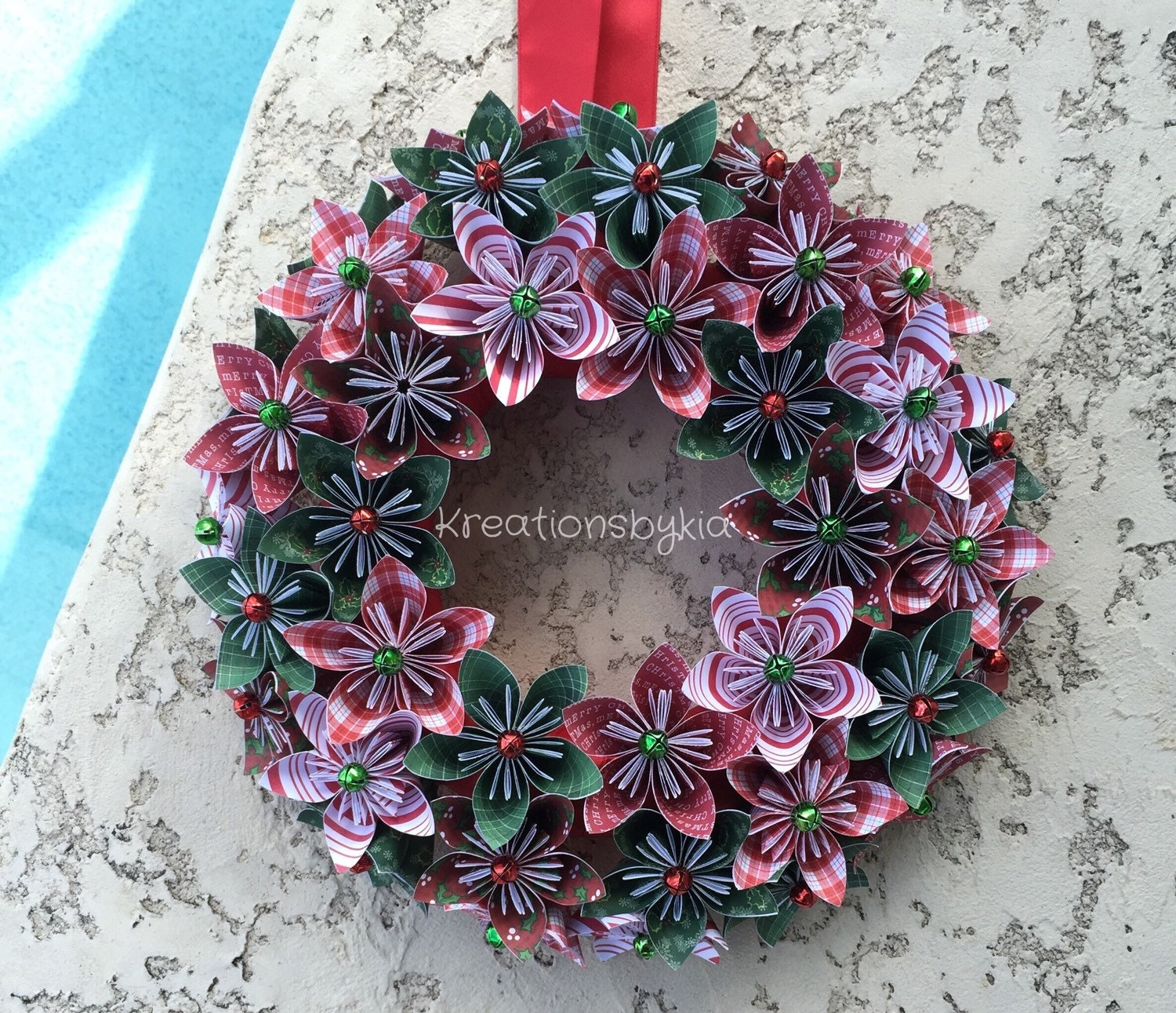 Origami Paper Flower Wreath Christmas Wreath Holiday