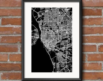 Buffalo Map Art Print – Dark // Buffalo Poster | Buffalo Art | Buffalo Print // Free Shipping