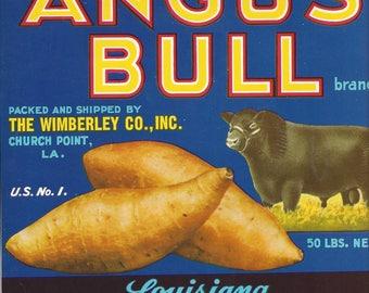 Vintage Angus Bull Louisiana Sweet Potatoes Original Lithograph Crate Label, 1950s