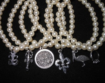 FREE SHIPPING Six Glass Pearl Wedding Cake Pulls with New Orleans and Traditional charms