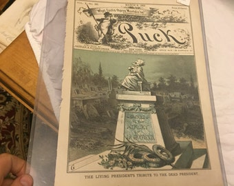 Antique puck magazine color lithograph march 8 1882 The living presidents tribune to the dead presidents political magazine print