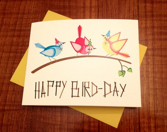 Happy Bird-Day Colorful Modern Birthday Card - 100% Recycled Paper