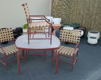 BROWN JORDAN Vintage 5 Piece PATIO Set Original Brown Jordan Metal Frame Strapping Glass Patio