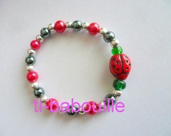 Ladybug doll jewelry pearl bracelet