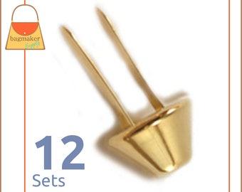 14 mm Purse Feet, Handbag Bottom Studs, Gold Finish, 12 Feet, Bag Making Hardware Supplies, PFT-AA010