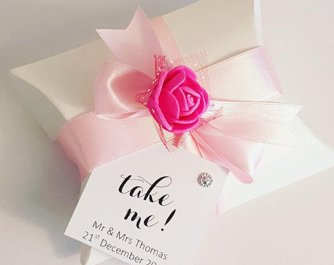 Pillow box favours for weddings baby showers partys with personalised tag
