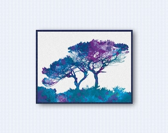 African Tree Watercolor Poster