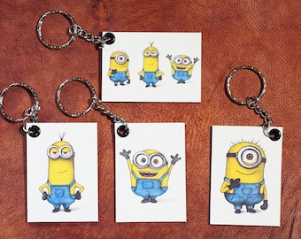 The Minions Keychains Magnetic (Pen Drawings) Handmade keyrings of Stuart, Kevin and Bob