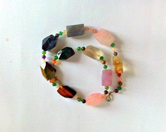 Сolorful necklace, Handmade necklaces, Necklace, Natural stone, Bright necklace, Colorful beads, colored beads, woman gift, gift for her