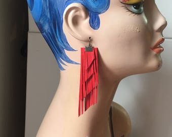 Red Leather Long Fringe Statement Earrings