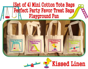 Personalized Girls Boys Playground Birthday Party Treat Favor Gift Bags Cotton Mini Totes Kids Toddler Park Outdoor Swing See Saw Slide