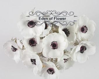 Real Touch Dark Purple Center White Anemones for Wedding Bridal Bouquets, Centerpieces, Decoration, Vase Arrangement