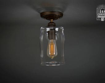 Flush Ceiling Mount | Semi-Flush | Edison Bulb Light Fixture | Oil Rubbed Bronze | Barrel Shade