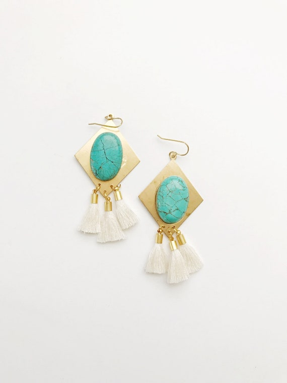Turquoise Gem Tassel Earrings