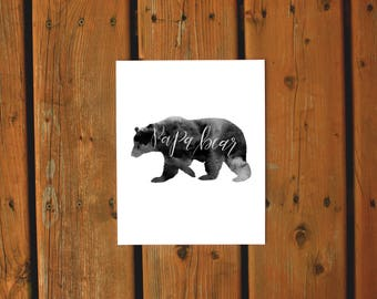 Wall Art Watercolor Print | Papa Bear Print | Father's Day Gift | Black and White Woodsy Northern Watercolor | Bedroom Home Cottage Decor