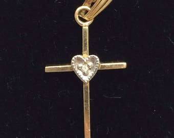 Vintage 14K Yellow Gold Diamond Heart Petite Cross PRETTY Great for Gift!