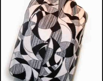 Cool Artsy In Black and White Fleece Scarf, Finished Edge Muffler, Geometric Patterns Neck Scarf