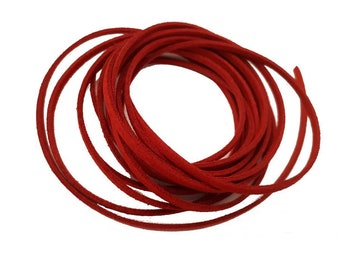 3 Yards Suede Cord Lace Faux Leather Cord - RED - 3 mm Width - Jewelry Making Beading Craft Thread String