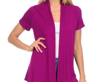 Short Sleeve Open Front Vest Magenta