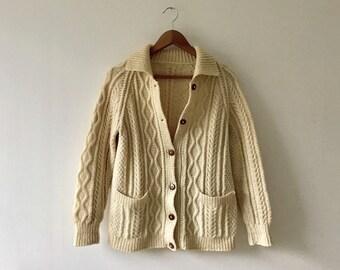 Traditional Vintage Aran Cardigan | Vintage Chunky Knit Fisherman's Sweater | Vintage Scottish Wool Cardigan | Vintage Scottish Aran Jumper