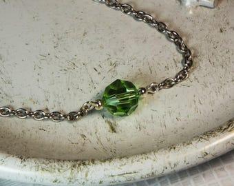 """Cynthia Lynn """"CELEBRATE"""" Peridot Green Swarovski Crystal August Birthstone Silver Necklace"""