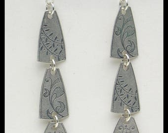 SCANDINAViA - Handforged Embossed Long Scandinavian Design Pewter Earrings