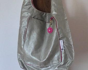 Silver and Pink Shoulder Bag Handmade Big Purse Hobo Bag Big Shoulder Bag with Flower Big Pocket Tote Gift
