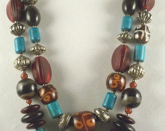 Vintage Bead Necklace // Two-Strand // Artful // Variety of Beads // Metal Beads // Made in India // Colorful // Eye Catching // Bold Look