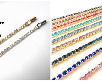 COLORED Rhinestone Necklace Extender GOLD Extender Fold-Over Clasp  Chain Extender Necklace Lengthener Silver Extender Necklace Extension