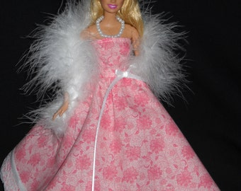 3 Piece Outfit Barbie Doll Dress Handmade Pink Floral with Lace Gown with Boa and Necklace
