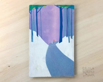 Original Art - Dog Walker, Collage, Cut Paper Collage, Woods, Outdoors, Dog Lover, Dog, Gift for Him, Gift for Her, Purple, Forest, Hiker