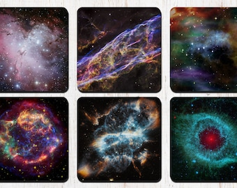Space Coasters, Galaxy Space Universe Stars Nebula, Drink Coasters, Decorative Coasters, Coaster Set, Wine Accessories