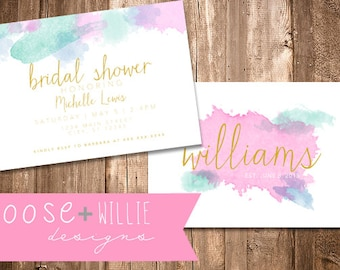 Custom Bridal Shower Invitation - Watercolor - Choose Colors/Personalize