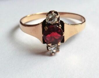 10K Gold Victorian Garnet Ring with Rose Cut Diamonds Size 6.5