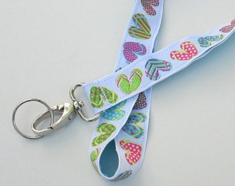 Flip Flops Lanyard Keychains for Women, Cool Lanyards for Keys, Id Badge Holder Necklace Lanyards, Cute Lanyards for Badges