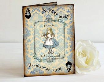 Alice in Wonderland Birthday Card, A Very Merry Un-Birthday Card, Greeting Card, Birthday Card, Wonderland Birthday, Happy Birthday,