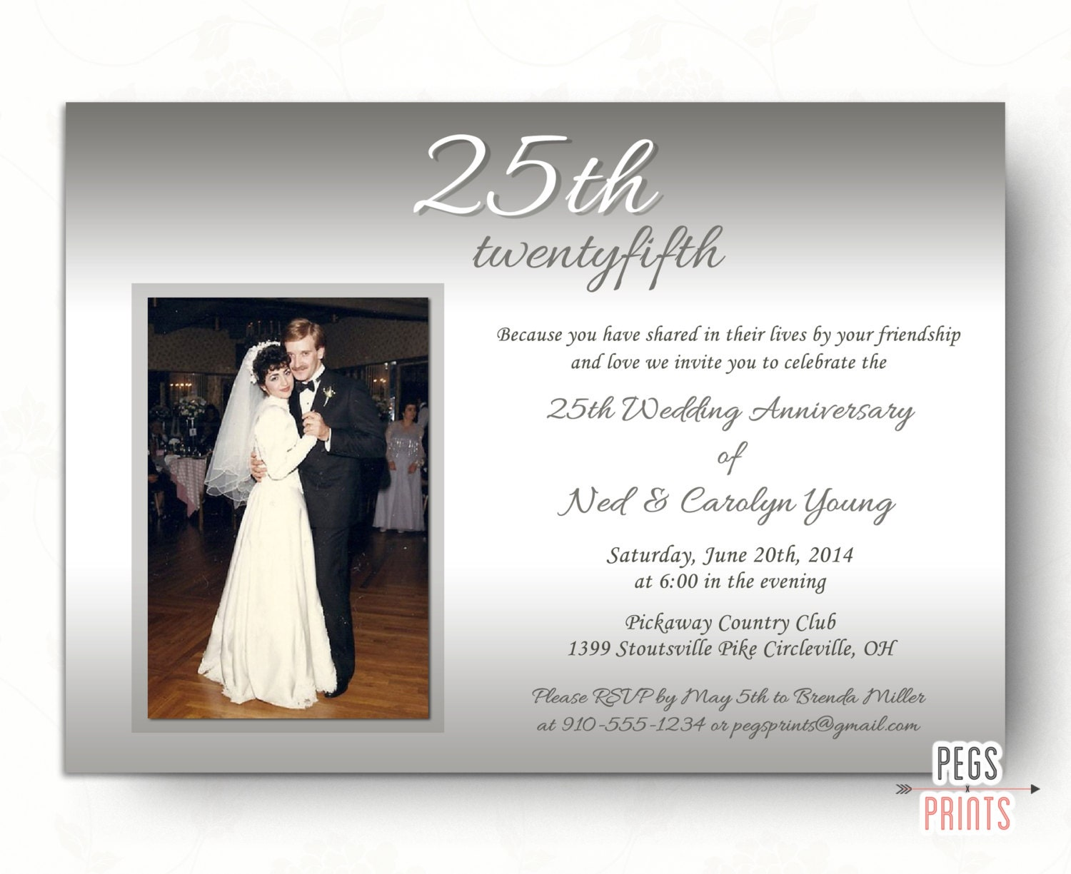 25th Wedding Anniversary Invitations // Silver Wedding