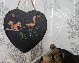 15cm Heart Shaped Slate Hanger,Hand drawn, engraved and painted,  Red Squirrels with acorns. Personalise with Clock conversion. Perfect gift