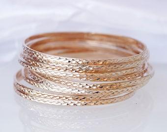 ROSE GOLD BANGLE, Stacking Bangle, Hammered Bracelet, Stacking Bracelets, Bridal Bangle, Bridesmaid Gift, Thin bangles, Set Of Bangles,Woman