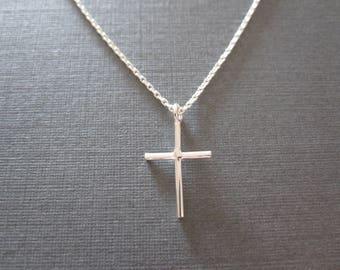 Silver Skinny Cross Necklace