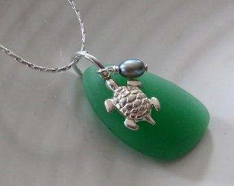 Green Sea Glass Necklace With Turtle And Freshwater Pearl