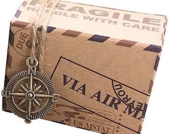 5 x Airmail Vintage Rustic Favour / Favor Boxes