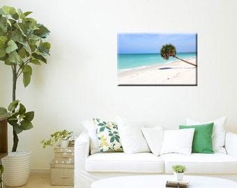 Metal Wall Art-Coastal Photography-Tropical Decor-Beach Art-Teal-Ocean-Palm Tree-Fine Art Horizontal Wall Art-20x30-Turquoise-Blue-White-Tan