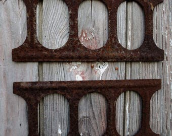 Industrial Cast Iron Mold Plates, concrete block manufacturing, deeply rusted and pitted, Industrial Frame or Mirror...Altered Art Project
