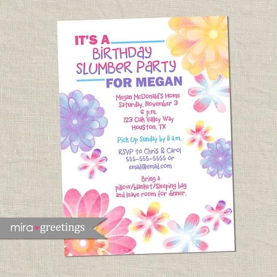 Flower birthday invitations slumber party invitation filmwisefo
