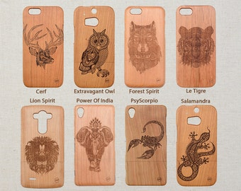 Custom | Psychedelic Animals | Design Wood Phone Case Samsung Galaxy  S9 S8 plus S7 S6 edge S5 mini A5 (2016) Note 8 5 4