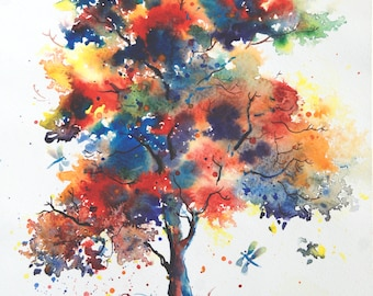 Autumn tree painting Happy tree painting watercolor tree painting Nature painting Happy Tree art Watercolor art